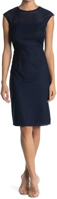 London Times Cap Sleeve Sheath Midi Dress