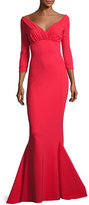 La Petite Robe di Chiara Boni Guinevere Long-Sleeve Mermaid Gown, Red