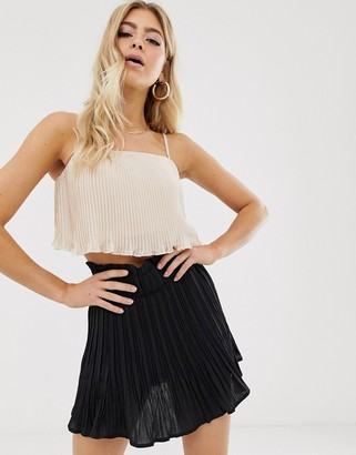 Parallel Lines cami crop top with waterfall pleats in blush