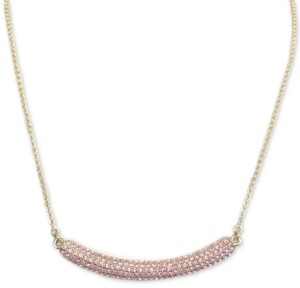 """Nina Gold-Tone Pave Crystal Curved Bar 17"""" Pendant Necklace"""
