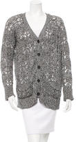 Elizabeth and James Open Knit Button-Up Cardigan