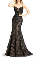 Mac Duggal Iridescent Lace Bustier Trumpet Gown