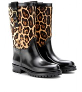 Dolce & Gabbana Leather boots with animal-print calf hair