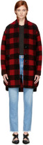 Etoile Isabel Marant Red and Black Gino Blanket Coat