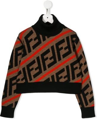 Fendi Kids FF logo stripe patterned sweater