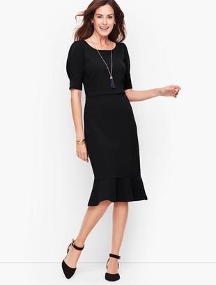 Talbots Crepe Flounce Sleeve A-Line Dress