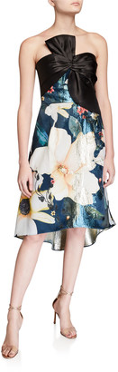 Marchesa Notte Strapless Printed Metallic Jacquard High-Low Cocktail Dress