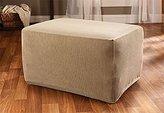 Sure Fit Stretch Stripe - Ottoman Slipcover - Sand (SF37761)