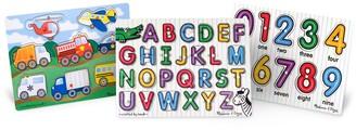 Melissa & Doug Peg Puzzle Bundle Alphabet, Numbers & Vehicles