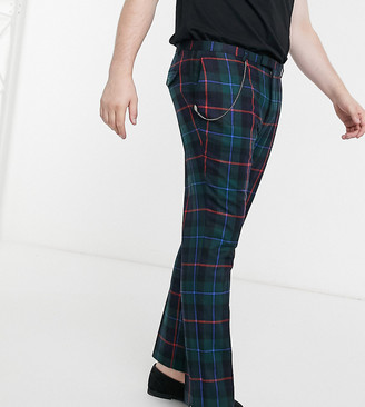 Twisted Tailor PLUS skinny cropped trouser in tartan with pleat and pocket chain