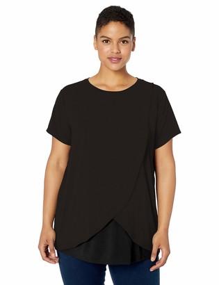 Motherhood Maternity Women's Maternity Plus-Size Short Sleeve Scoop Neck Tulip Nursing Tee Shirt