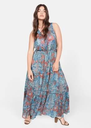 MANGO Violeta BY Boho printed dress blue - 10 - Plus sizes