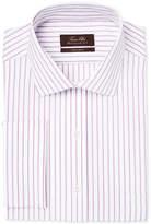 Tasso Elba Men's Mulberry Classic/Regular Fit Non-Iron White Herringbone Stripe French Cuff Dress Shirt, Created for Macy's