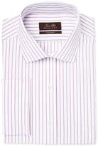 Tasso Elba Men's Mulberry Classic/Regular Fit Non-Iron White Herringbone Stripe French Cuff Dress Shirt, Only at Macy's