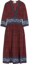 Sea Printed Silk Crepe De Chine Midi Dress - Burgundy