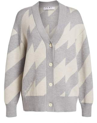 Proenza Schouler White Label Oversized Chevron Cardigan Sweater