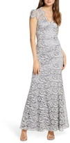 Eliza J Embroidered Lace Trumpet Gown