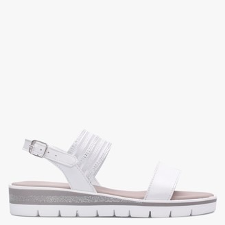 Daniel Lily White Leather Embellished Two Strap Sandals