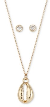 Unwritten 2-Pc. Set Shell Pendant Necklace & Cubic Zirconia Round Stud Earrings in Gold-Flash, Created for Macy's