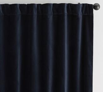 Pottery Barn Velvet Twill Rod Pocket Curtain - Washed Black
