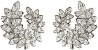 Kenneth Jay Lane Glass crystal leaf clip earrings