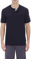 James Perse Men's Short-Sleeve Henley-NAVY