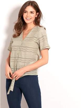 M&Co Schiffli lace tie front shirt