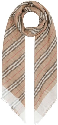 Burberry Icon Stripe and Vintage Check Wool Silk Scarf