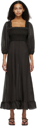 Ganni Black Seersucker Balloon Sleeve Dress
