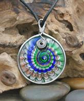 Green & Black Besheek BeSheek Women's Necklaces Green/Blue Leather Wave Glass Pendant Necklace