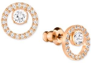 Swarovski Pave Circle and Crystal Stud Earrings