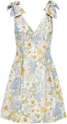 Zimmermann Super Eight Bow-detailed Floral-print Linen Mini Dress
