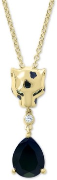 """Effy Multi-Gemstone & Diamond Accent Panther Head 18"""" Pendant Necklace in 14k Gold"""
