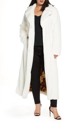 Coldesina Grosgrain Ribbon Detail Faux Fur Long Coat