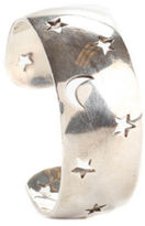 Hermes AUTH Sterling Silver Moon Star Cut-Out Cuff Bracelet IN BOX EVJW