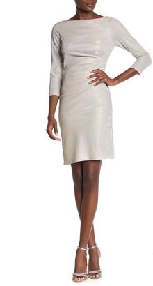 Marina Metallic Knit Boatneck Ruched Sheath Dress