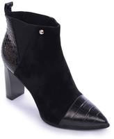 Nicole Miller Loretta Genuine Leather Croc Embossed Bootie