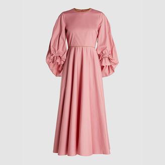 Roksanda Pink Fife Balloon Sleeve Cotton Midi Dress UK 6