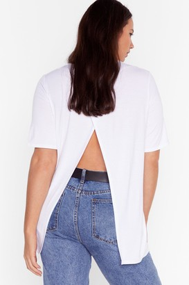 Nasty Gal Womens Back It Up Slit Plus Tee - White