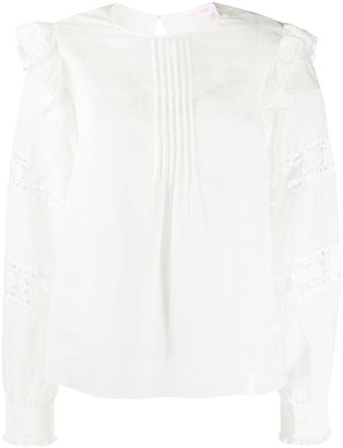 See by Chloe Lace-Inset Pleated Neck Blouse