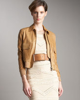 Knit-Trim Leather Jacket