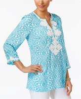 Charter Club Iconic-Print Embroidered Tunic, Only at Macy's