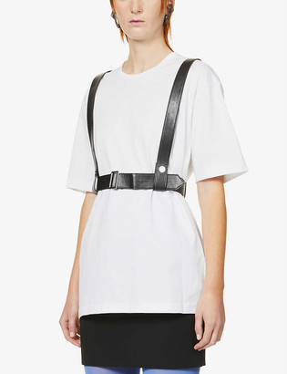Junya Watanabe Harness-detail cotton and faux-leather T-shirt