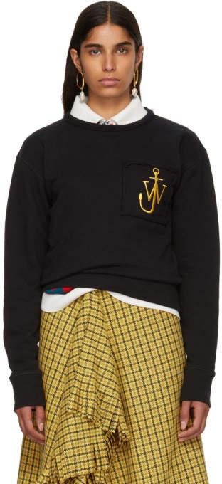 J.W.Anderson Black Frayed Logo Sweatshirt