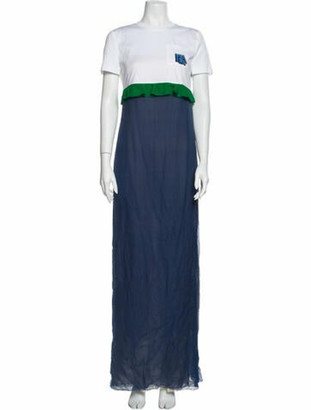 Prada Chiffon Tee Long Dress Blue