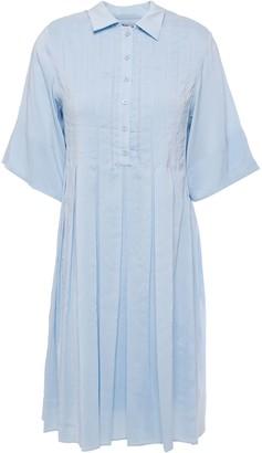 Carven Pleated Silk Mini Shirt Dress