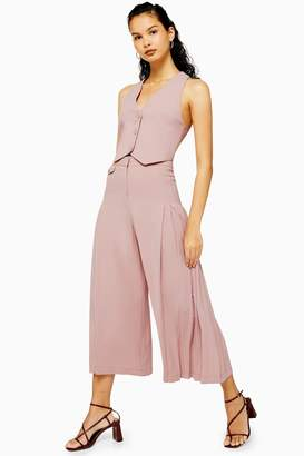 Topshop Blush Pleated Crop Wide Leg Trousers