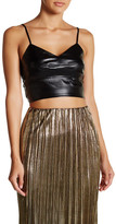 Soprano V-Neck Faux Leather Cropped Tank