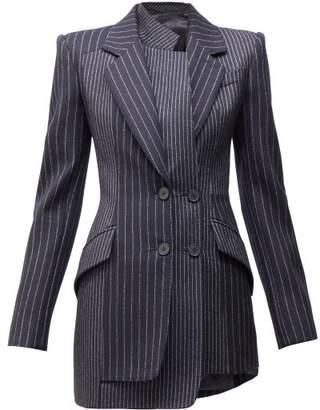 Alexander McQueen Panelled Pinstriped Twill Blazer - Womens - Navy Stripe