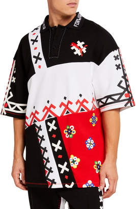 Puma Men's Jahnkoy Oversized Multipattern Polo Shirt